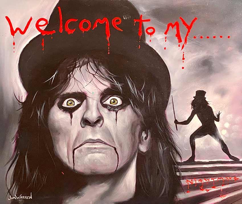 Alice Cooper - Welcome to my Nightmare Original Painting by Jim Warren