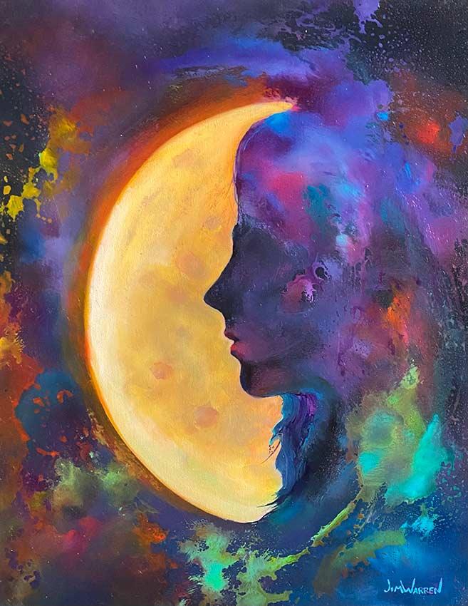 Basking in the Moon Original Painting by Jim Warren