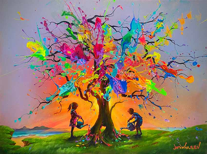 Creating The Tree of Life Original Painting by Jim Warren