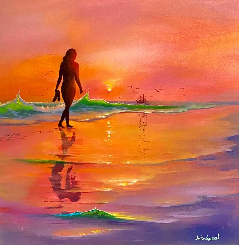 Walking in the Sand Original Painting by Jim Warren